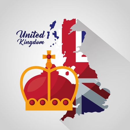 united kingdom grunge london map crown queen vector illustration Ilustrace