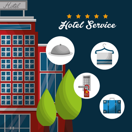 hotel service building hanging towel blue bag ring code vector illustration Illustration