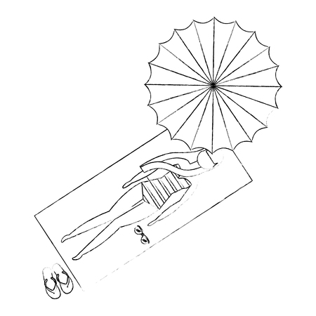 top view woman in swimsuit on deck chair umbrella vector illustration