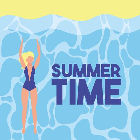 summer time vacations girl enjoying beach sign vector illustration
