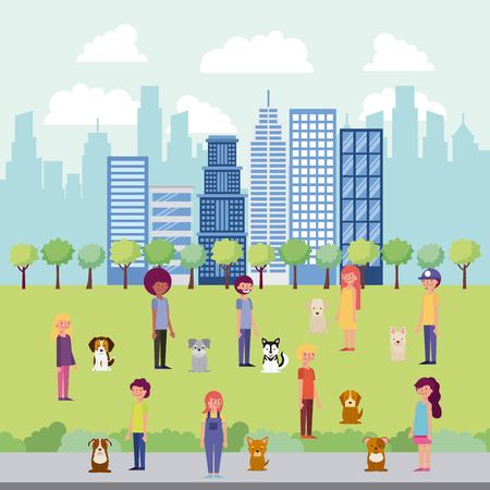 people park and city high buildings family walking dogs childrens couples vector illustration  イラスト・ベクター素材