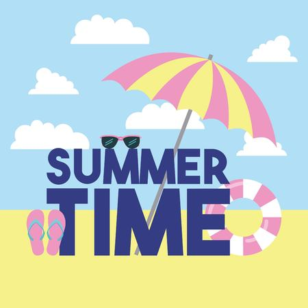 summer time vacation sign with float umbrella vector illustration