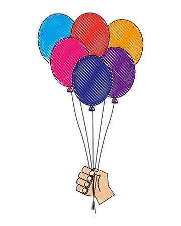 hand holding bunch birthday balloons vector illustration  イラスト・ベクター素材