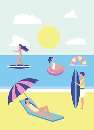 summer time vacations girls enjoying surf table beach sea floats vector illustration