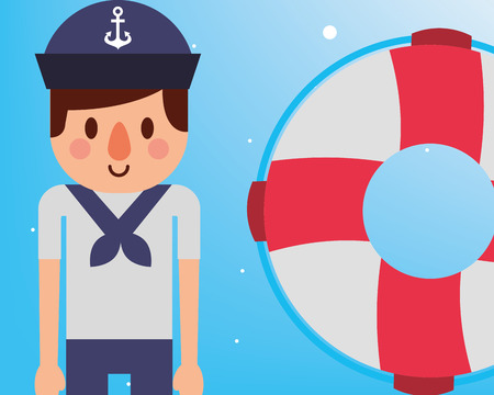 nautical maritime design cute smiling sailor with float rescue vector illustration