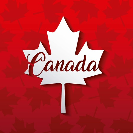 happy canada day card red leave maples background vector illustration  イラスト・ベクター素材