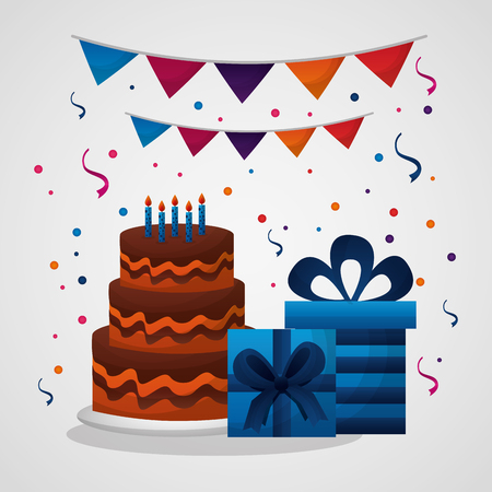 happy birthday card pennants confetti gift boxes cake chocolate vector illustration Ilustração