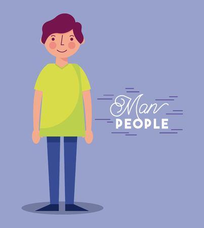 people man character smiling yellow shirt vector illustration