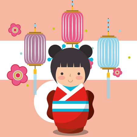 floral decoration chinese lanterns and japanese kokeshi doll in kimono vector illustration Stock Vector - 104728855