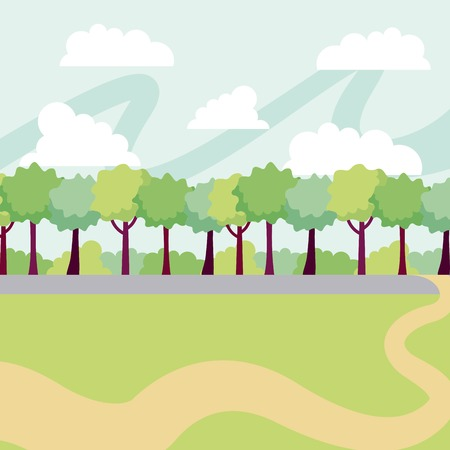 park sunny day clouds many trees vector illustration