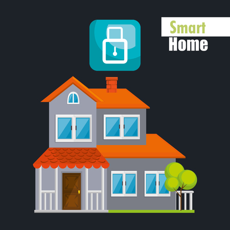 smart house with padlock security service vector illustration design