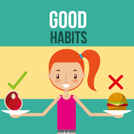 cute girl with healthy and unhealthy food good habits vector illustration Çizim