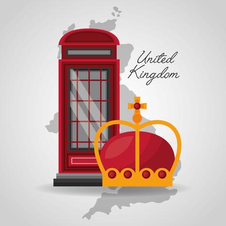 united kingdom places flag telephone box crown map background vector illustration Illustration