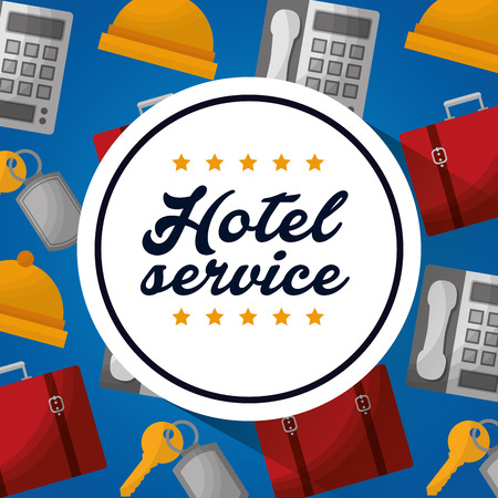 hotel building service sticker sign rings key suits telephones background vector illustration