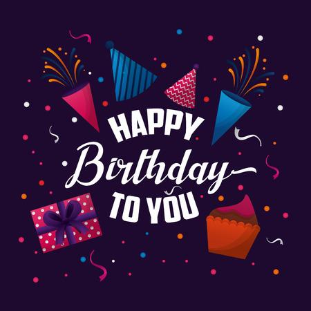happy birthday card confetti colorshats gift box cake vector illustration