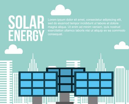 solar energy city sustainable alternative vector illustration