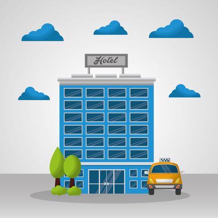 hotel building taxi trees clouds high lodging vector illustration Çizim