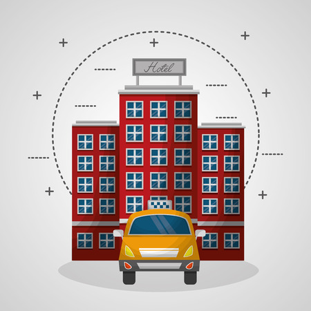 hotel building and taxi service tansport vector illustration Çizim