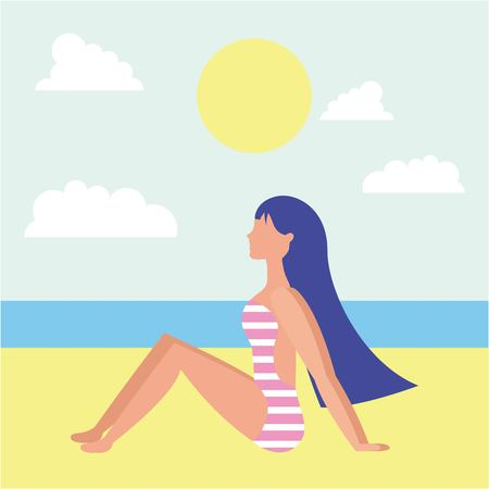 summer time vacations girl sitting sand clouds sun beach vector illustration