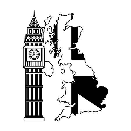 united kigndom flag in map big ben tower vector illustration black and white  イラスト・ベクター素材