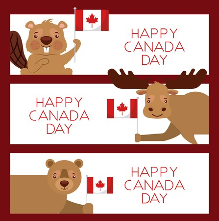 happy canada day card banner with animals moose beaver bear holding flags vector illustration Ilustração