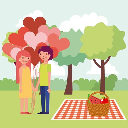 happy couple lovers balloons hearts picnic day food vector illustration