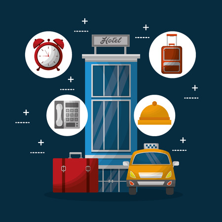 hotel building taxi and suitcase handbag clock time ring reception telephone vector illustration