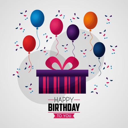 happy birthday card balloons serpentines purple gift box sign vector illustration