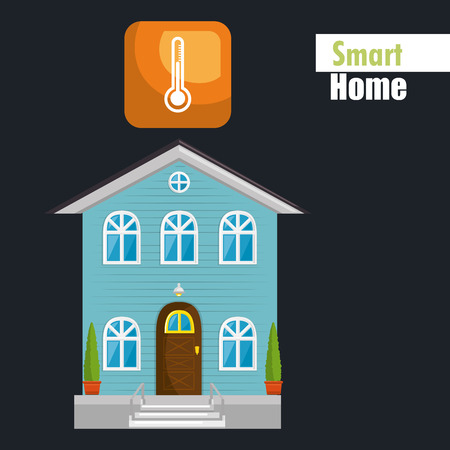 smart house with termometer temperature service vector illustration design Stock Illustratie
