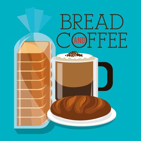 delicious breads and coffee label vector illustration design Stockfoto - 104741156