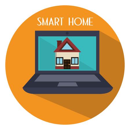 smart home in laptop computer vector illustration design