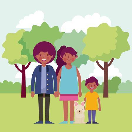 people park afroamerican family smiling walking dog vector illustration