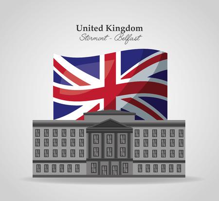 united kingdom flag stormont belgast vector illustration
