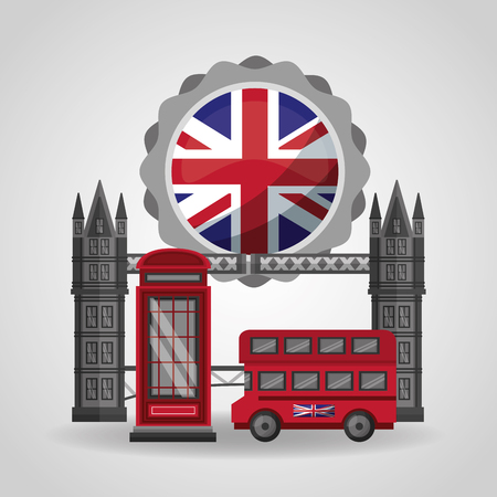united kingdom flag double decker sticker london brigde vector illustration Ilustrace