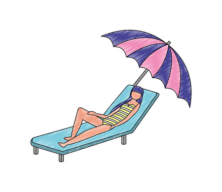 woman in swimsuit on the deck chair with umbrella vector illustration Archivio Fotografico - 104741158