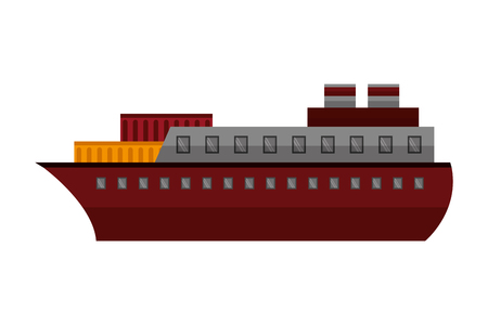 container ship boat transport maritime vector illustration Stock Vector - 114962018