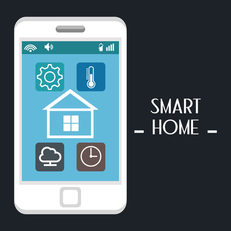 smart house with smartphone and set services icons vector illustration design
