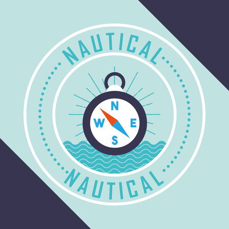 nautical maritime design compass ubication sea vector illustration