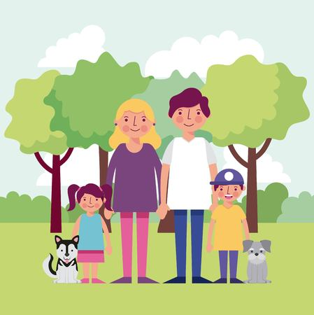 people park smiling family with two dogs childrens enjoying vector illustration