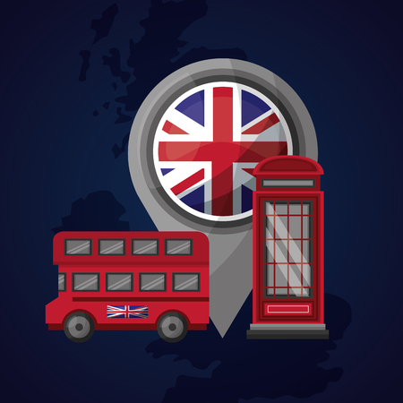 united kingdom location london flag telehpone box double decker vector illustration