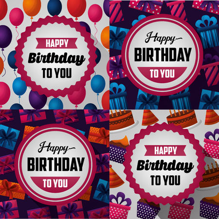 happy birthday card collorful banner stickers sign birth to you happy day balloons gifts cakes vector illustration Çizim