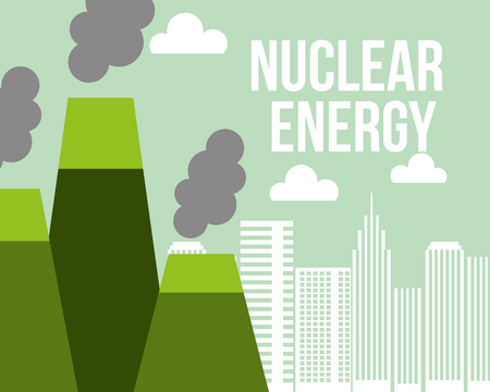 nuclear energy power plant city ecology vector illustration