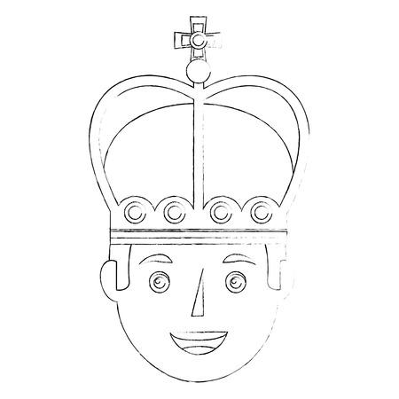 king man wearing crown royalty vector illustration Illustration