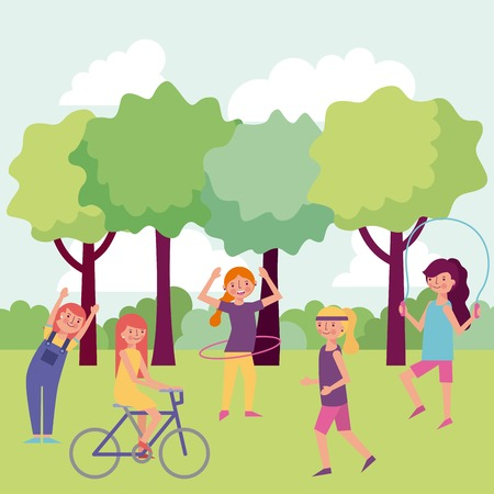 people park and city many girls jumping rope playing hula hula riding bicycle vector illustration