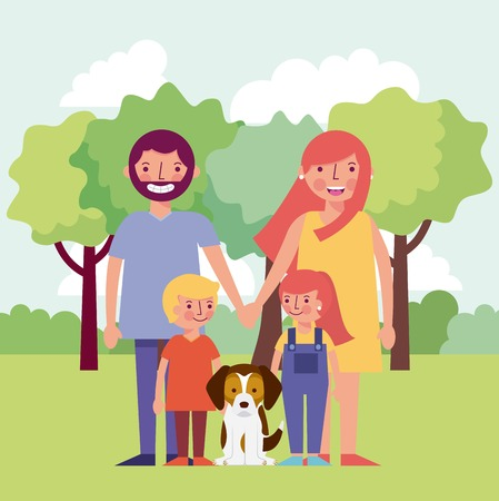 people park happy family childrens dog holding hands vector illustration