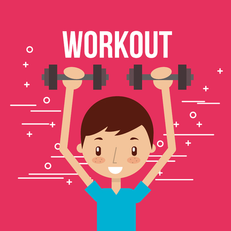 cute boy training with dumbbells fitness vector illustration Foto de archivo - 104730280