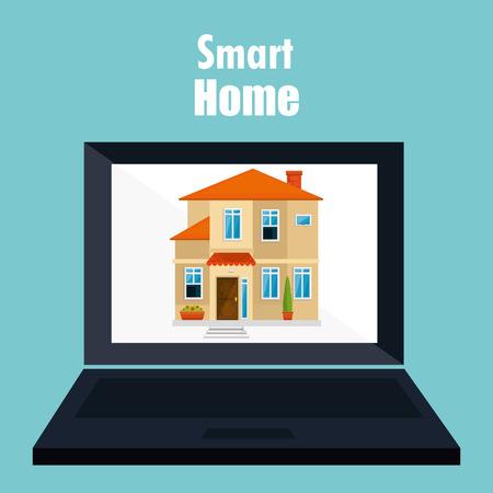smart home with laptop computer device vector illustration design Иллюстрация