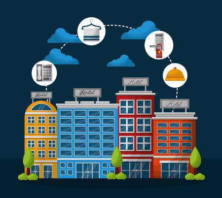 hotel building clouds ring clock do not disturb tag vector illustration Illustration
