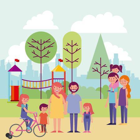 Menschenpark und Stadtgebäude Bäume Spiele für Kinder Familien lächelnde Vektorillustration