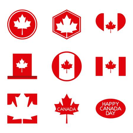 happy canada day card figures traditional hat leave maples vector illustration